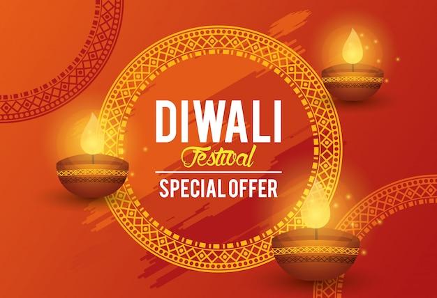Diwali festival indian offre conception bannière