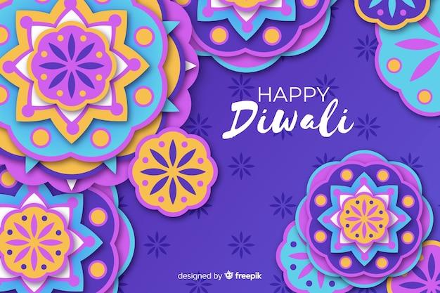 Diwali festival ornements papier style fond