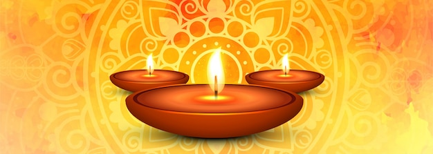 Diwali heureux et lampes à huile illuminées bannière de médias sociaux
