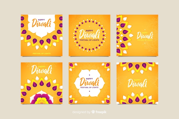 Diwali instagram post collection dans les tons orange