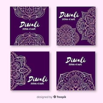 Diwali instagram post collection en violet