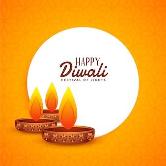 Diwali jaune avec trois lampes de diya