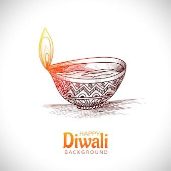 Diwali lampe à huile festival main dessiner conception de cartes de croquis