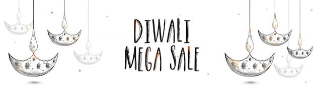 Diwali mega sale bannières avec lampes suspendues à l'huile.