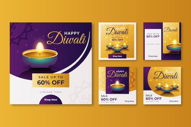 Diwali sale event instagram post set
