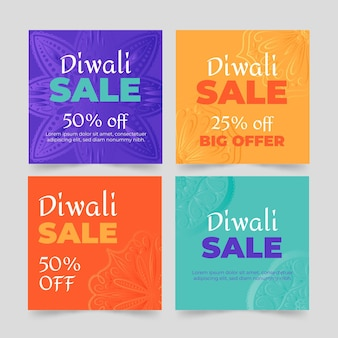 Diwali sale instagram post set
