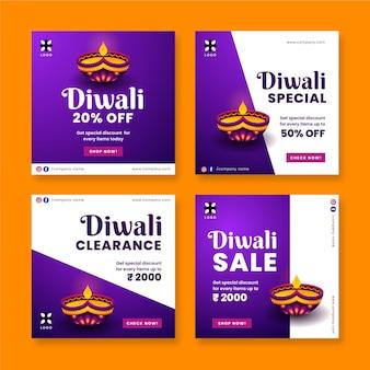 Diwali sale instagram post set