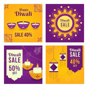 Diwali sale instagram posts pack