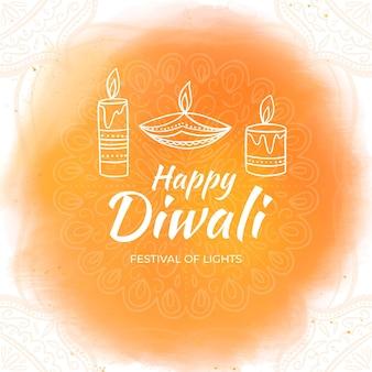 Diwali de style dessiné à la main avec bougie