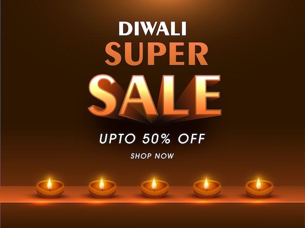 Diwali super sale poster en couleur bronze avec lampes à huile allumées (diya).