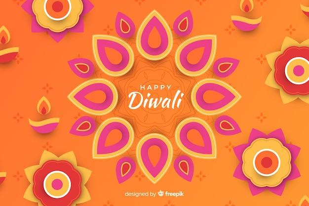 Diwali vacances ornements papier style fond