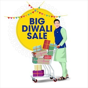 Diwali vente offre bannière indien hommes