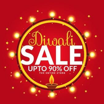 Diwali vente et offre modèle d'affiche de bannière avec diya et ampoules