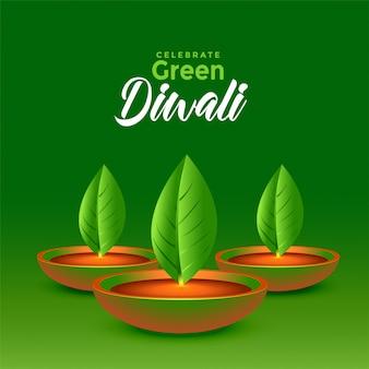 Diwali vert heureux laisse diya eco