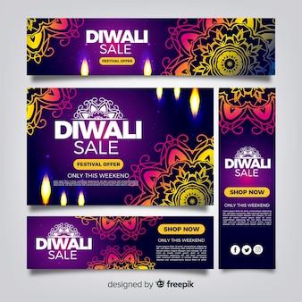 Diwali web bannière collection avec un design réaliste