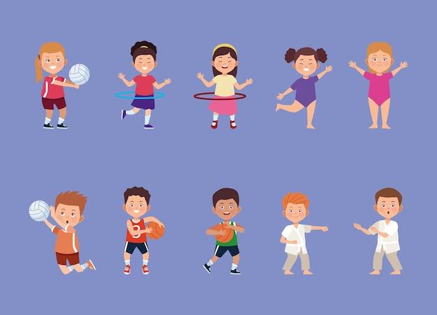 Dix Activités Pour Les Enfants Vecteur Premium