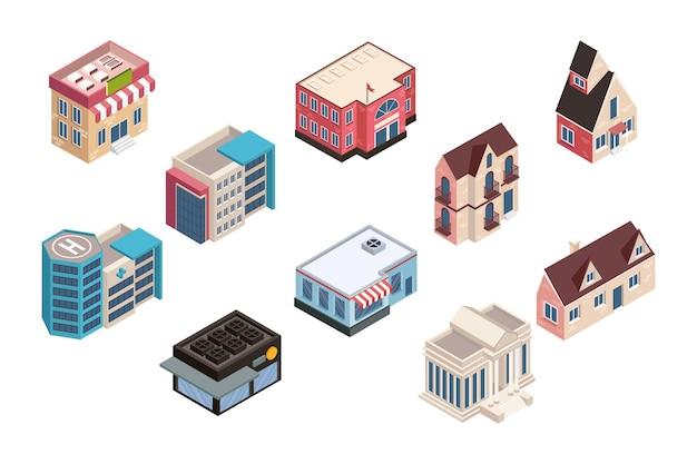 Dix bâtiments isométriques