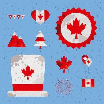 Dix icônes définies pour la fête du canada