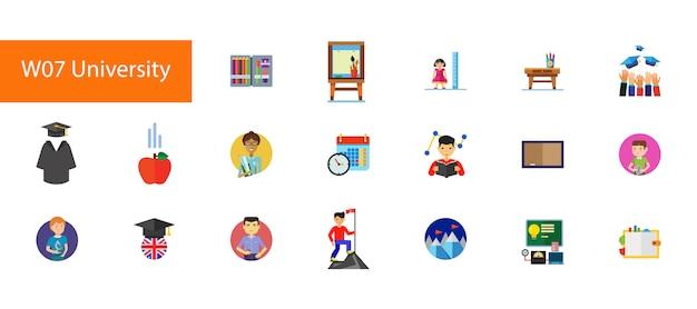Dix-neuvième collection d'icônes vectorielles plat sur fond blanc.
