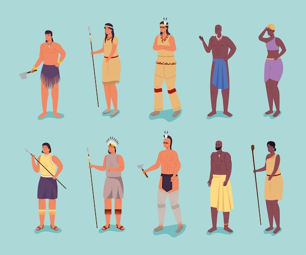 Dix personnages aborigènes
