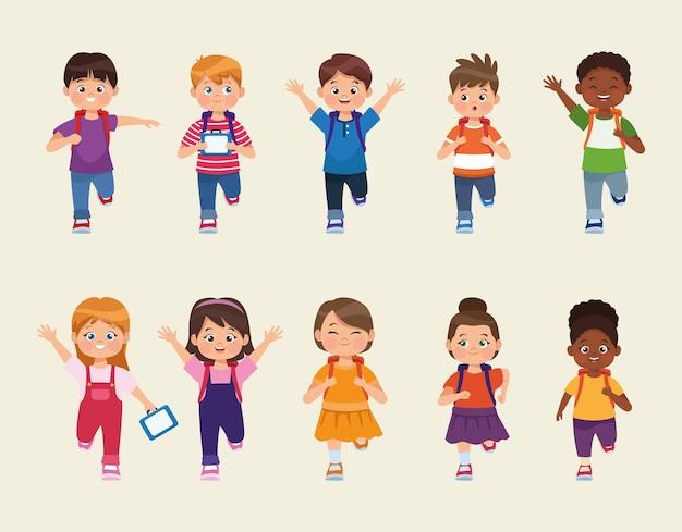 Dix personnages de petits étudiants