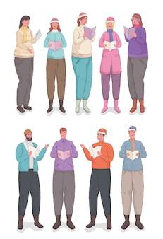 Dix personnes portant des vêtements d'hiver chantant des chants de noël
