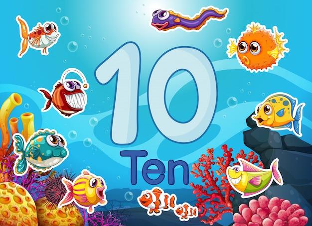 Dix poissons sous-marins différents