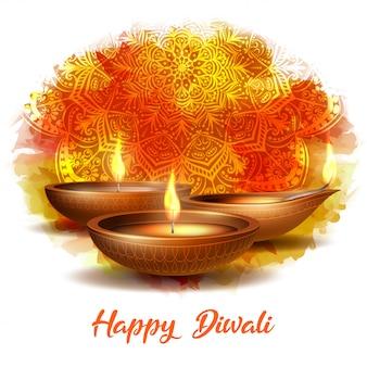 Diya brûlant sur la carte blanche de joyeux diwali vacances