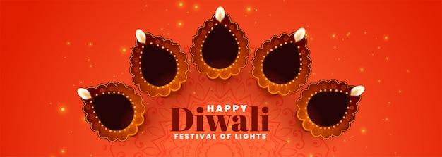 Diya décoratif pour la bannière du festival de diwali