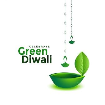 Diya de feuille de diwali vert créatif