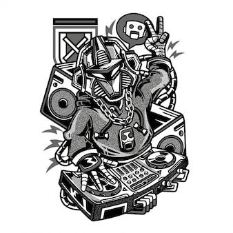 Dj beats robot illustration noir et blanc