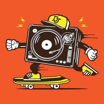 Dj disc jockey skater skateboard personnage