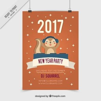 Dj écureuil affiche du parti du nouvel an