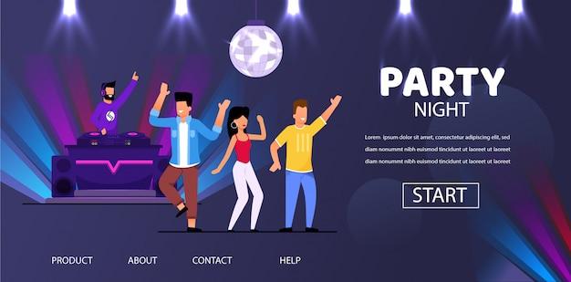Dj night club fête jouer de la musique personnes foule danse