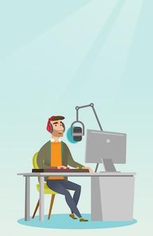 Dj travaillant à la radio
