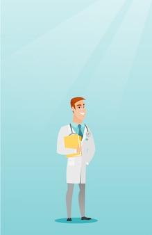 Docteur amical avec un stéthoscope et un fichier.
