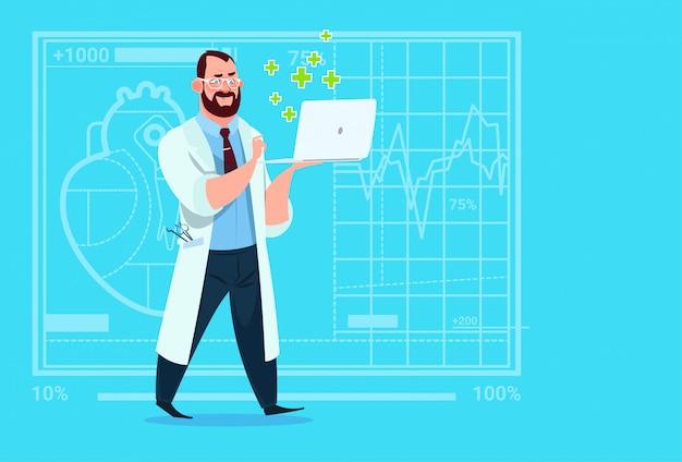 Docteur en attente ordinateur portable consultation en ligne cliniques médicales hôpital ouvrier