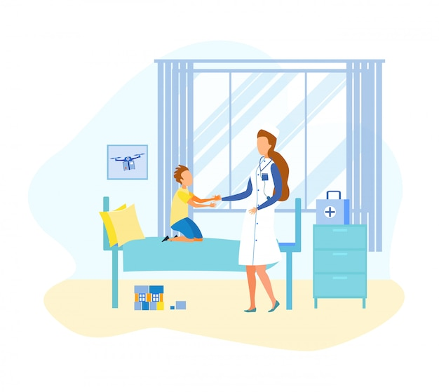 Un docteur de la bande dessinée visite un enfant dans la salle d'hôpital