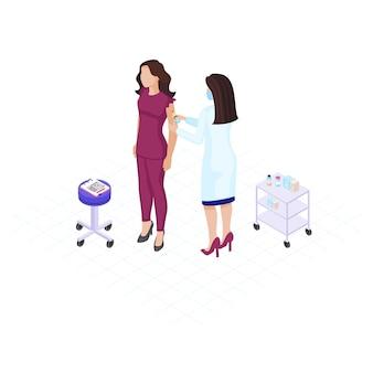 Docteur, confection, vaccin, coup, plat, couleur, illustration