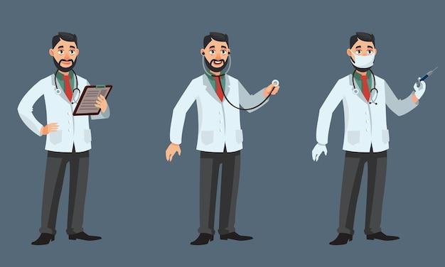 Docteur dans différentes poses. personne de sexe masculin en style cartoon.