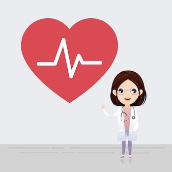 Docteur debout avec signe de battement de coeur.