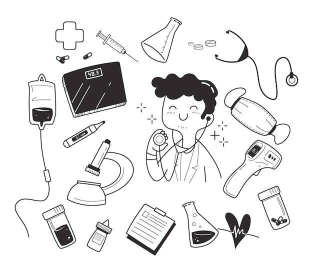 Docteur dessiné à la main et ensemble d'illustrations médicales
