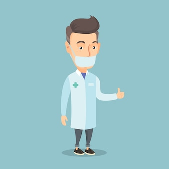 Docteur donnant le pouce en l'air illustration vectorielle.