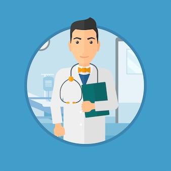 Docteur avec dossier en cabinet médical.