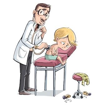 Docteur, écoute, malade, enfant