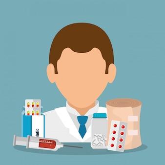 Docteur avec équipement médical
