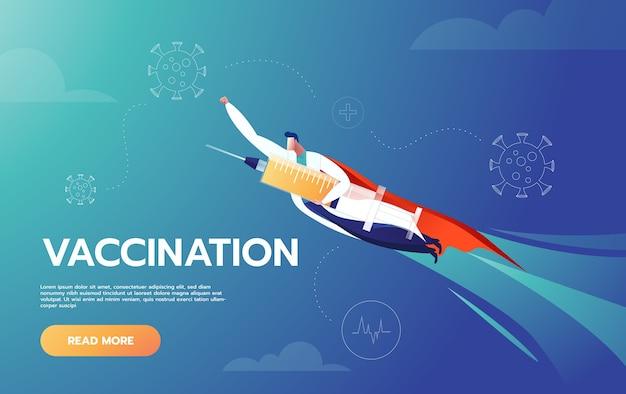 Le docteur est un héros tenant un vaccin et volant pour protéger les gens
