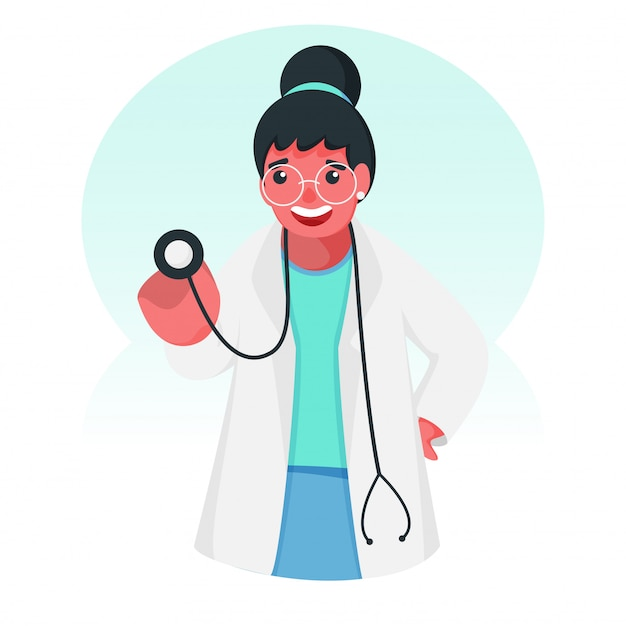 Docteur girl character holding stethoscope pour checkup.