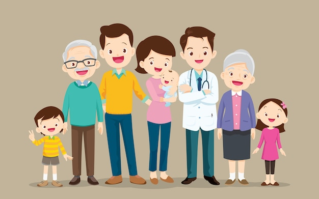 Docteur et grand ensemble de famille heureuse
