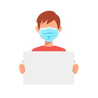 Docteur homme en masque médical tenant une affiche de protestation vierge.